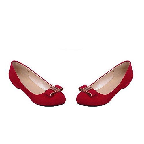 AgooLar Damen Niedriger Absatz Mattglasbirne Ziehen auf Rund Zehe Pumps Schuhe Rot