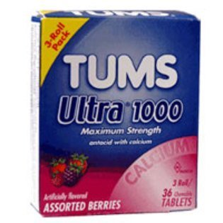 TUMS Antacid with Calcium ULTRA 1000 Strength - 6 Boxes - 18 Rolls by TUMS