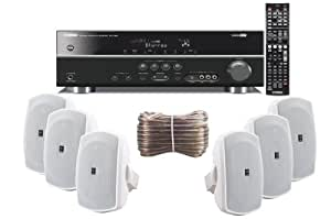 Yamaha 3D-Ready 5.1-Channel 500 Watts Digital Home Theater Audio/Video Receiver With a USB Digital Input and Connecting Cable to Play & Charge Your iPod or iPhone & Control Remotely + Set of 6 Yamaha All Weather Indoor / Outdoor 130 watt Wall Mountable Natural Sound 2-way Acoustic Suspension Speakers - White + 100ft 16 AWG Speaker Wire