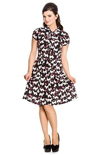 Hell Bunny 60's Mod Scottie Scottish Terrier & Hearts Midi Dress With Pleated Skirt ()