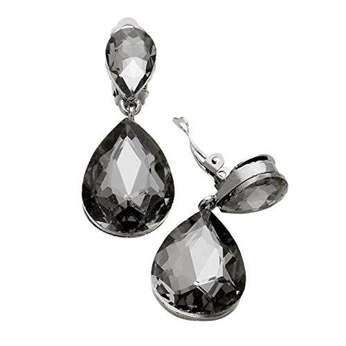 Chunky Smoky Rhinestone Teardrop Dangle Drop Clip-On Earrings, 1 3/4