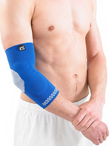 Neo G Elbow Support - For Arthritis Relief, Joint Pain, Tendonitis, Elbow Injury, Recovery, Sports, Tennis - Multi Zone Compression Sleeve - Airflow Plus - Class 1 Medical Device - Large - Blue by Neo-G