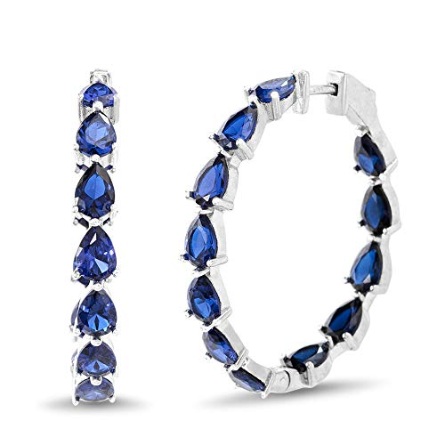 INSPIRED BY YOU. Pear Shaped Prong Set Simulated Blue Sapphire Large Inside Outside Bridal Hoop Earring for Women in Rhodium Plated 925 Sterling Silver