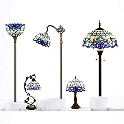 Tiffany Lamp White Blue Baroque Stained Glass Lampshade Antique Style Base Table Lamps Lighting W12 H18 Inch Living Room Bedroom Bedside Desk Lamp S003B WERFACTORY