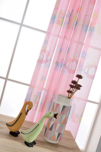 WPKIRA Window Treatments Girls Room Voile Curtain Drapes Printing Magic Paradise Cartoon Horse Cats Mouse Castle Sheer Curtains Tulle Panel for Bedroom , 1 Panel Pink 84 inch Length by 39 inch Width - 84' Rod Pocket Draperies