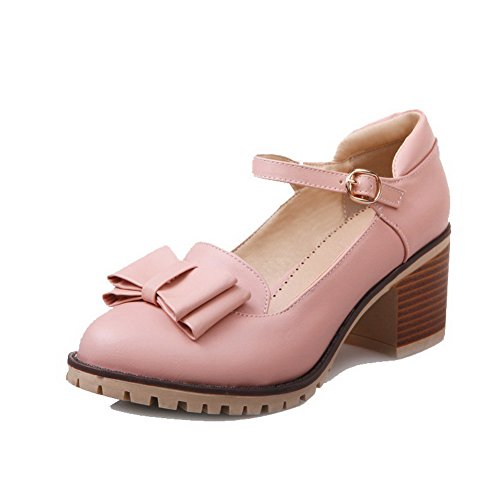 Closed Kitten Pink Shoes PU Toe Heels WeiPoot Women's Pumps Solid Buckle YRwxER7qf