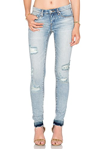 (Pohiya Women's Mid-Rise Skinny Jeans,Stretch Ripped Destroy Light Blue Denim Distressed Jeans Legging Pants(28))