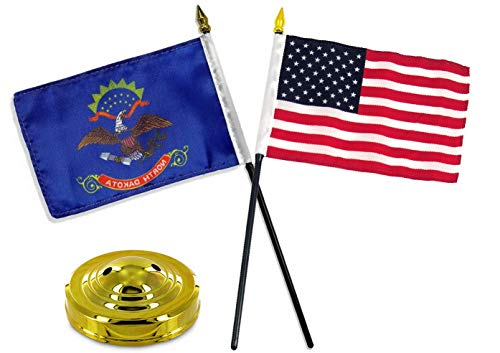 Hebel North Dakota State w/USA America American Flag 4x6 Desk Set Table Gold Base | Model FLG - 31