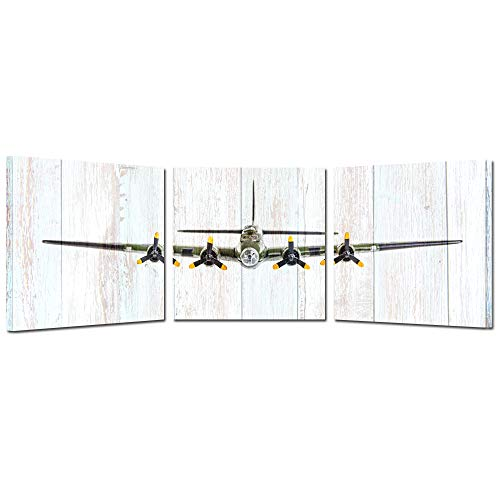 Kreative Arts 3 Pieces Vintage Airplane B-17 Flying Fortress Wall Art Giclee Canvas Bomber Plane Canvas Prints Pictures Canvas Stretched and Framed Painting Retro Wood Style (20x20inchx3pcs)