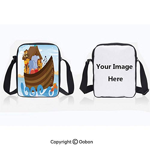 Polyester Anti-Theft Cross-Body Bag Unisex Adult Different Wild Animals on Noahs Ark Boat Cheerful Story with Characters Fun Multicolor Zipper Bucket Anti Theft Bag For Journey