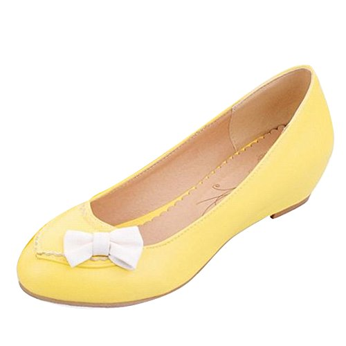 Carol Shoes Women's Sweet Cute Concise Wedges Bows Pumps Shoes Yellow C6oUnyYl9