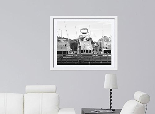 Black and White Wall Art, Virginia Beach Rudee Inlet Fishing Boats at the Doclk Pier, Coastal Wall Art Decor Picture, Gift for Men, Large Photo Print from 5x7 to 24x30