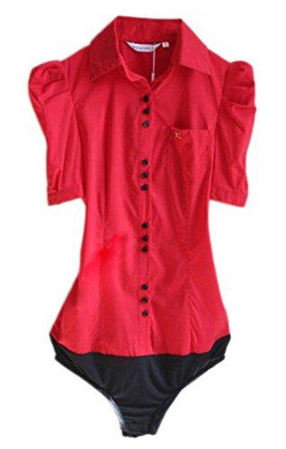 Soojun Women Short Sleeve Button Down Career Shirt Bodysuit Blouse, (US 10, - Buttons Cuff French