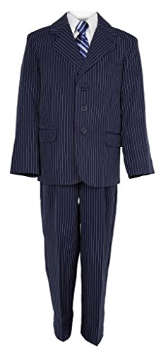 Tie Navy Pinstripe Suit - Vangogh Boys Pinstripe Suit Set with Tie Navy 5