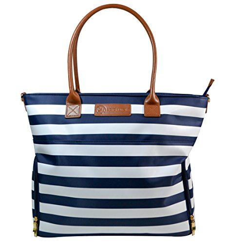 "Sarah Wells ""Abby"" Breast Pump Bag, Real Leather Straps (Navy Striped)"
