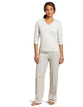 Intimo Women's Comfy Knit 2 Piece Set, Lunar Rock, Small