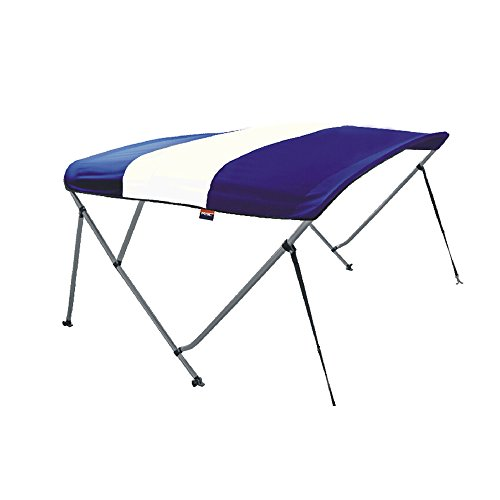 MSC 3 Bow Bimini Boat Top Cover with Rear Support Pole and Storage Boot (White&Navy blue, 3 Bow 6'L x 46