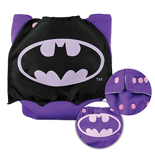 Bumkins Cloth Diaper Snap All-In-One (AIO) or Pocket with Cape, 7-28lbs, DC Comics Batman Pink Bumkins All In One Diapers