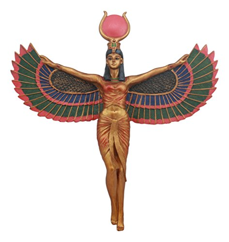 "Ebros Ancient Egyptian Goddess Isis With Open Wings Wall Decor Isis Ra Deity Wall Hanging Plaque 11.5""Tall Figurine"