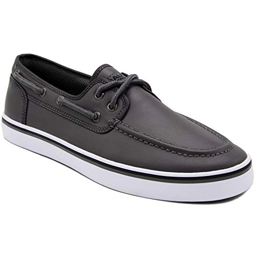 Nautica Men's Spinnaker Lace-Up Boat Shoe, Casual Loafer, Fashion Sneaker-Grey Smooth 1-9.5