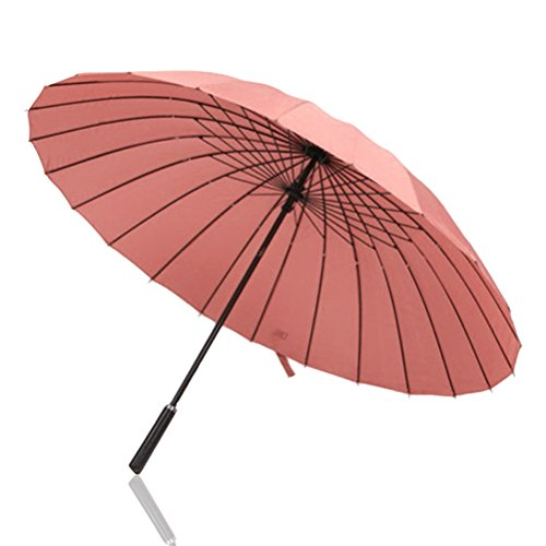 Classic Manual Umbrella (Odowalker 44 inchs Sturdy 24 Ribs Rain Umbrella Classic Windproof Rainproof Durable Enough for the Strong Wind Heavy Rain UV Protection Parasol Manual Open Close with Carry Bag (Pink))