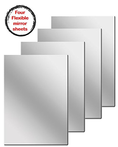 Flexible Mirrored Sheets with Adhesive Back, 4 Count, 6 x 9 Inch each