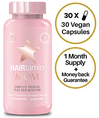 HAIRtamin MOM Vegan Prenatal Vitamins for Women, Natural Multivitamin for Expecting Mothers with Biotin, Probiotics, Vitamin B-6, Iron, Best Post-Natal Vitamin to Promote Healthy Hair & Nail Growth