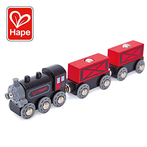 Hape Steam-Era Freight Train | Classic Black & Red Childrens Locomotive Toy With Unloadable Freight Wagons