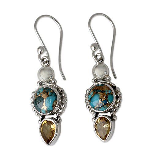 NOVICA Citrine Reconstituted Turquoise .925 Sterling Silver Dangle Earrings 'Summer Sunset' - Turquoise Dangle Earrings Set