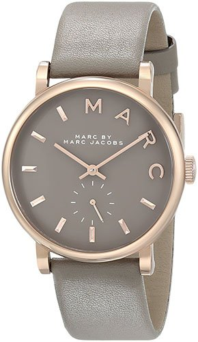 Women's MBM1266 Baker Rose-Tone Stainless Steel Watch with Grey Leather Band (Marc By Marc Jacobs Gifts)