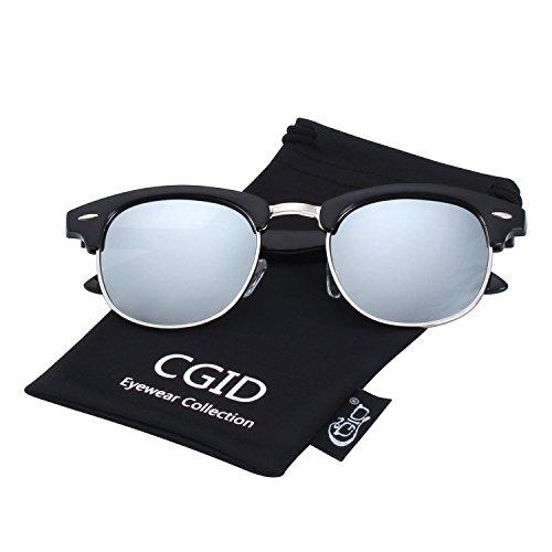 Mujer polarizadas y medio Negro CGID marco Plateado A Hombre para Gafas MJ56 sol retro clásico de wU4UP1qnt