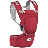Joly Joy Portabebés Ergonómico Desmontable 6 en 1 Multifuncional Ajustable Portadores para bebés y niños pequeños - Mediano (Rojo BY)