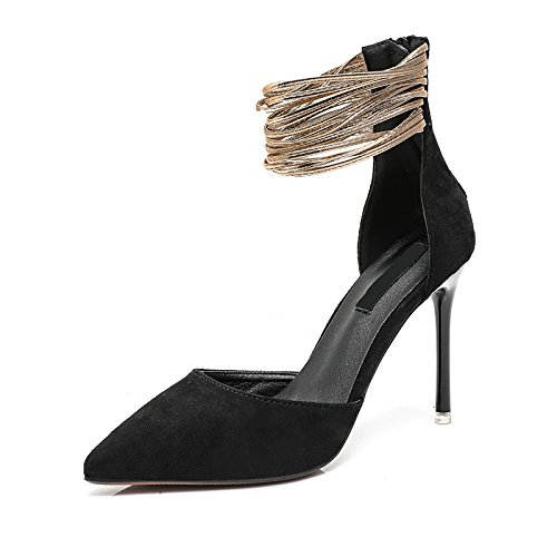 Single Summer Heels Shallowly Shallowly Shoe black Thin Woman High Professional Heel AGECC qESFd8qw