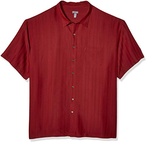 Silk Front Button Shirt - Van Heusen Men's Size Big and Tall Air Short Sleeve Button Down Poly Rayon Stripe Shirt, Legacy Red Syrah, Large