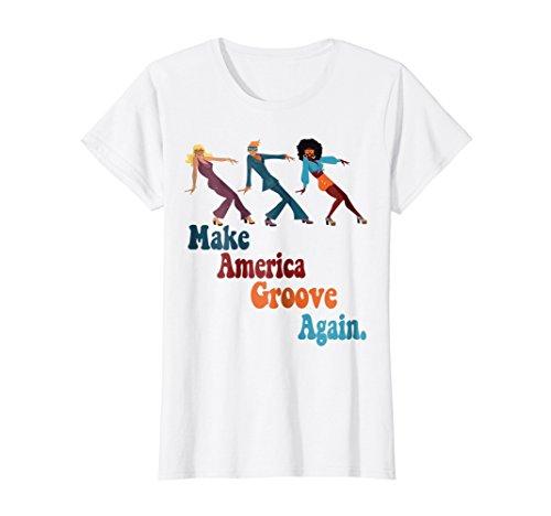Womens Make America Groove Again T Shirt 1970s Disco Dancers Large White -