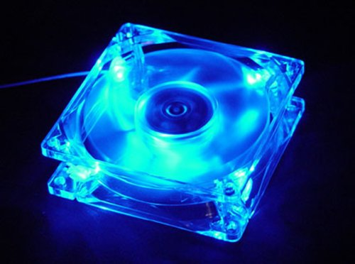 Autolizer Sleeve Bearing 80mm Silent Cooling Fan for Computer PC Cases - High Airflow, Quite, and Transparent Clear (Blue Quad 4-LEDs) - 2 Years Warranty