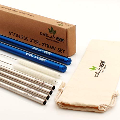 Stainless Steel Metal Straw Set: 4 Reusable Straws + 2 Cleaning Brushes + 2 Travel Straw Washable Cases + 1 Pouch. The Innovative, Eco-friendly, Safe Environment, Portable Straw Solution by Deja Vu