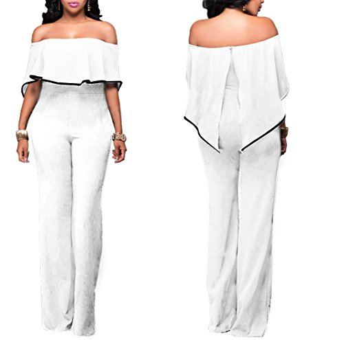 Sexycherry Women Elegant Sexy Off Shoulder High Waist Wide Leg Jumpsuits Rompers Pants (X-Large, White (Sexy Pants Suits)