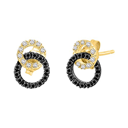Black and White Diamond Interlocking Circle Earrings in 14K Yellow Gold (1/4 cttw) (Color GH, Clarity ()
