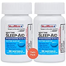 ValuMeds Nighttime Sleep Aid (Twin Pack - 192 Softgels) Diphenhydramine HCl, 50 mg | Supports Deeper, Restful Sleeping for Men, Women (Compare to Active Ingredient in Unisom SleepGels)
