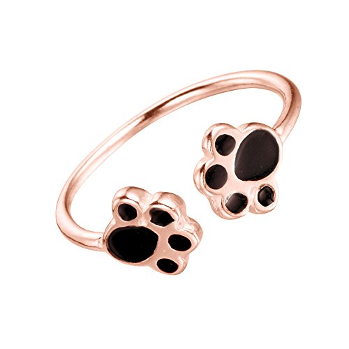 Cute Adjustable Ring Dog Paw Opened Rings for Girls and Women(Rose Gold)