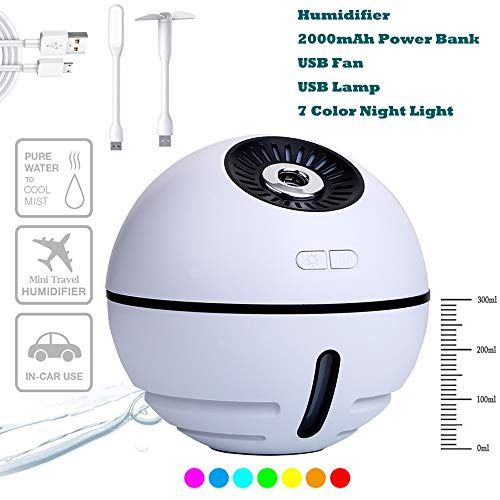 2000 Unit Air Pure - houmi Portable USB Humidifiers, Rechargeable Cordless 2000 mAh Battery Multicolor Air Humidifier with Fan and LED Light for Bedroom Office Travel (White)