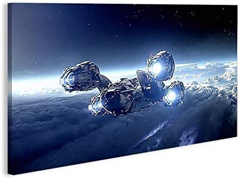 islandburner Cuadro en lienzo Spaceship 1p Nave espacial XXL Póster Lienzo decorativo para salón marca