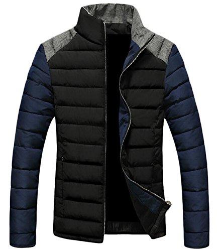 Black Down Fashion Jacket Collar EKU Stand M Up US Men's Coat Zipper Warm Hv06wqT56