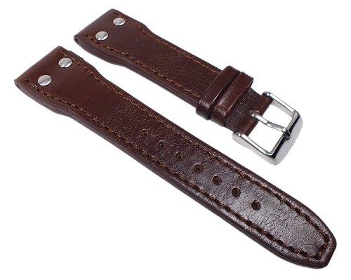 Sattel Ersatzband Uhrenarmband Kalbsleder Braun mit Ziernieten 22327S, Stegbreite:22mm