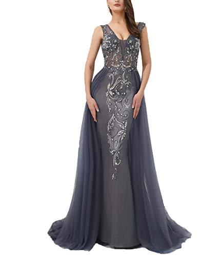 02069d0758 SDRESS Women's Crystal V Neck Mermaid Formal Prom Dress Open Back Overskirt  Evening Gown with Train Grey Size 22