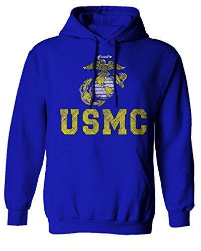 Marines Marine Corps USMC Logo Seal United States America USA American Hoodie (Royal, Large)