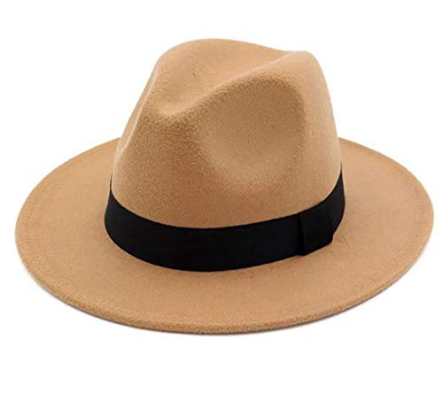 Lanzom Women Wide Brim Warm Wool Fedora Hat Retro Style Belt Panama Hat (Camel, One Size)]()