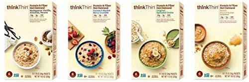 Oatmeal Packets by thinkThin, Instant Protein & Fiber Hot Oatmeal for On The Go- 10g Protein, 5g Fiber, Kosher - Farmer's Market Berry Crumble, 1.76 oz Packets (12 Boxes/6 Packets Per Box) by thinkThin (Image #4)