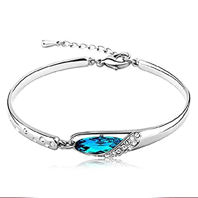 New Tzou Fashion Womens 925 Sterling Silver Crystal Bracelet Bangle